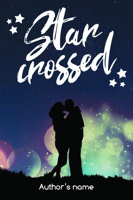 Portada prediseñada para libro o novela con pareja besandose bajo las estrellas