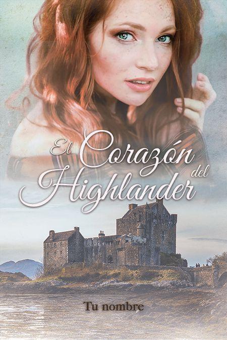 Portada de novela romántica con chica pelirroja y castillo en escocia