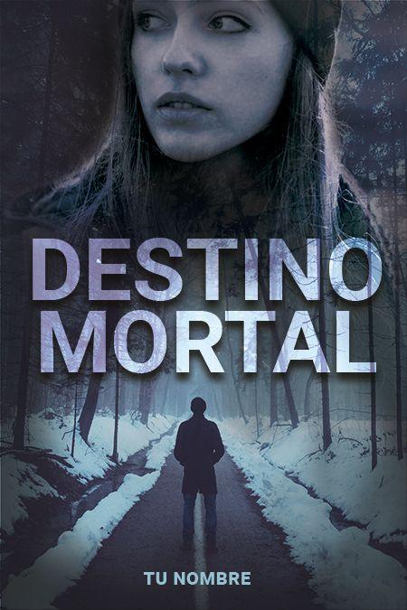 Hombre misterioso en bosque con chica asustada portada de libro de suspense
