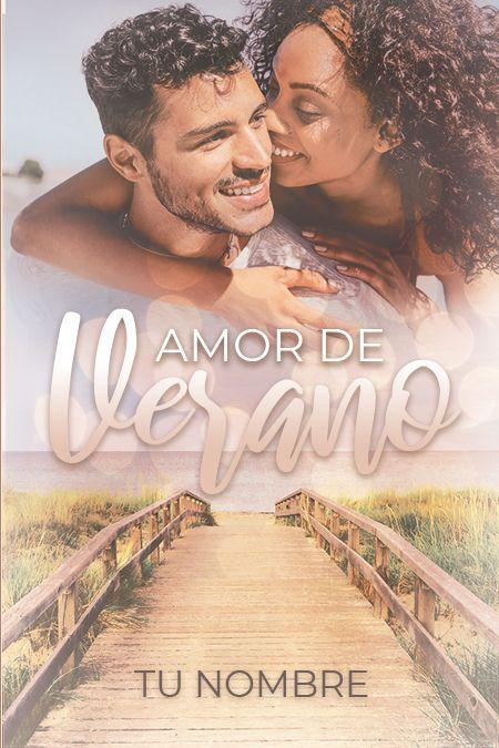 portada prediseñada para libro con una playa y pareja abrazados