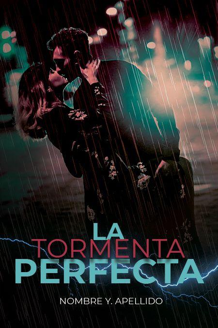 pareja besandose bajo la lluvia con un rayo