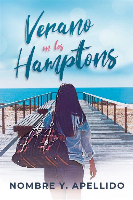 Portada de libro con una chica con una mochila de viaje yendo hacia una playa y el mar azul